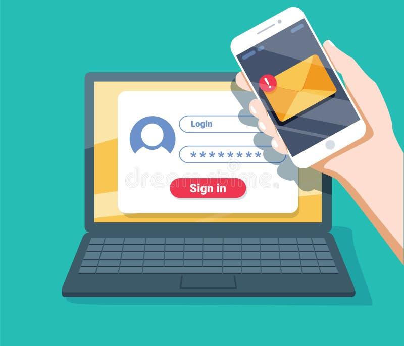 Verifikationskodmeddelande Bärbar dator och smartphone med kod Säkerhet för personlig information royaltyfri illustrationer