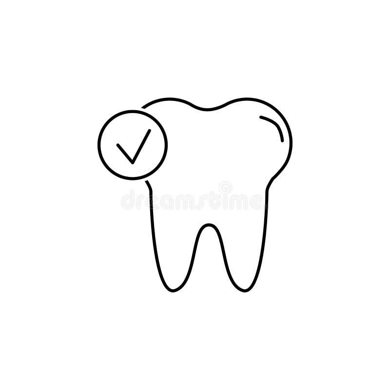 Verifique o ícone do dente Sinal do Stomatology Símbolo dos cuidados dentários Sinais do caderno, do calendário e da roda dentead ilustração do vetor
