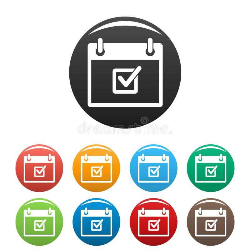 Verifique o encontro de cor ajustada dos ícones da data ilustração stock
