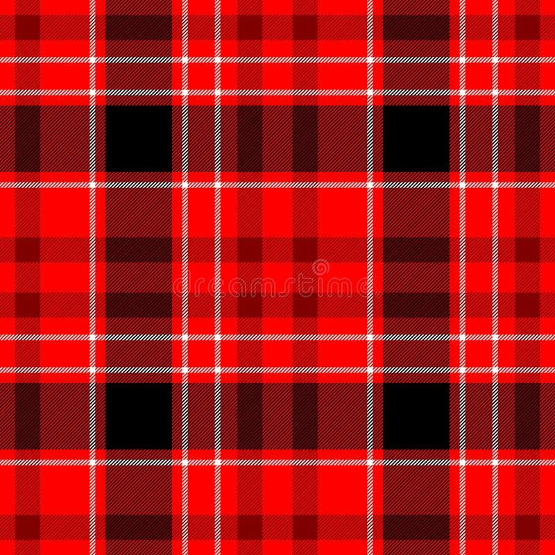 Verifique o fundo sem emenda da textura do teste padrão da manta de tartã do diamante - vermelho, cor preto e branco ilustração stock