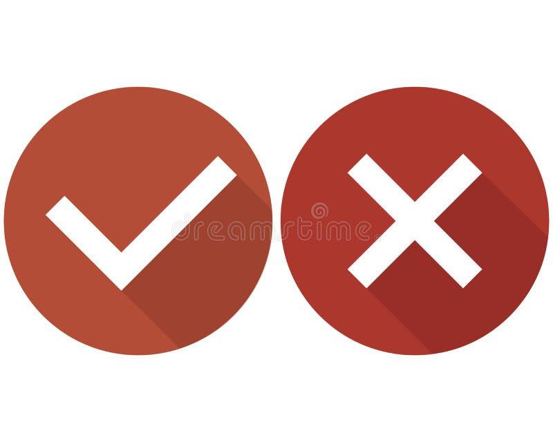 Verifique o grupo, o verde e o vermelho dos ícones da lista da caixa isolados no fundo branco, ilustração royalty free