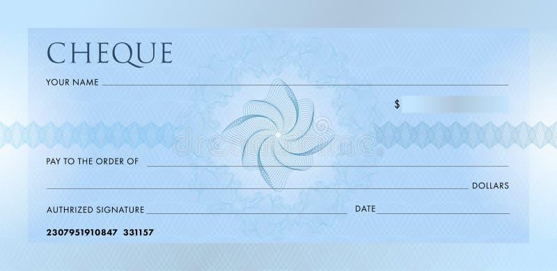 Verifique o molde, molde do Chequebook Cheque azul vazio do banco do neg?cio com a roseta e o sum?rio do teste padr?o do guilloch ilustração do vetor