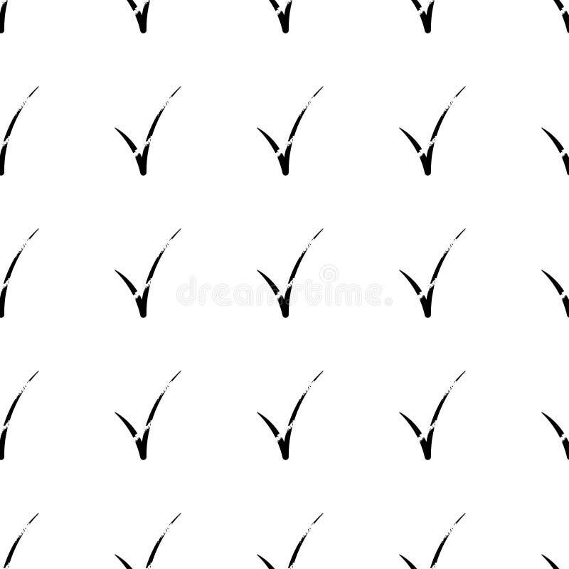 Verifique o teste padrão sem emenda da marca no fundo branco S?mbolo do tiquetaque Ilustra??o do vetor ilustração royalty free