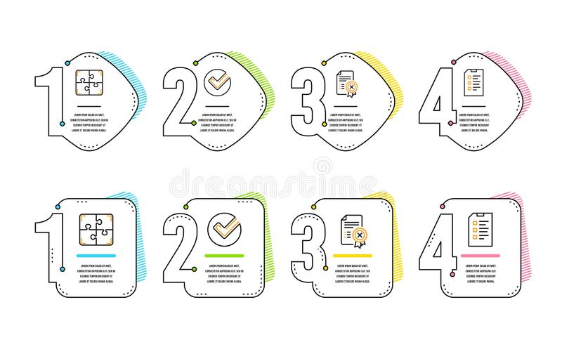 Verify, Reject certificate and Puzzle icons set. Checklist sign. Vector stock illustration
