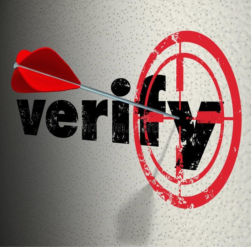 Verify Word Arrow Bulls Eye Target Confirm Certify royalty free illustration
