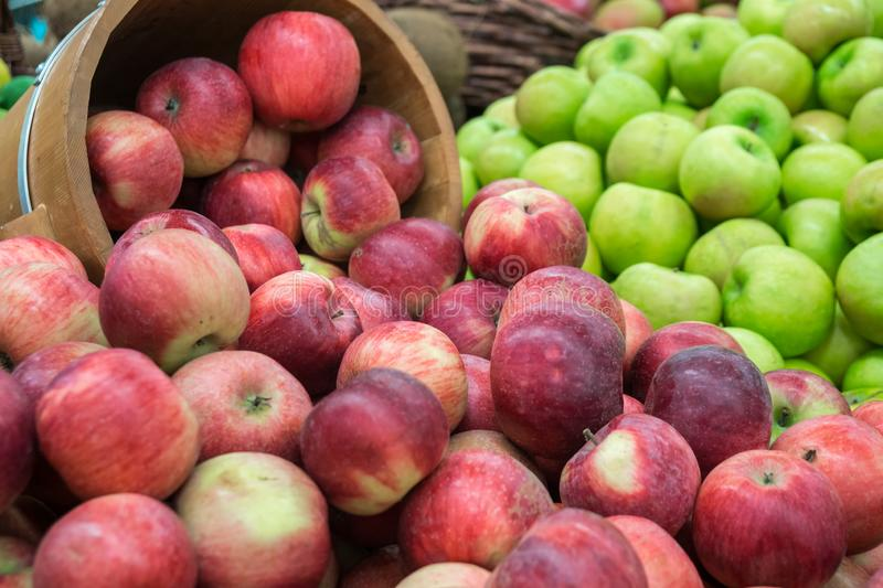 Verious apples in Market stall. healthy food.  stock image