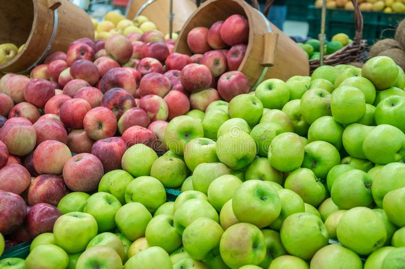Verious apples in Market stall. healthy food.  royalty free stock photography