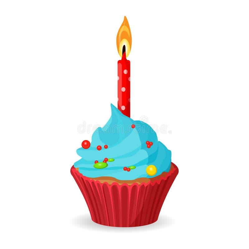 Verjaardag cupcake met één brandende kaars, blauwe room met karamel stock illustratie