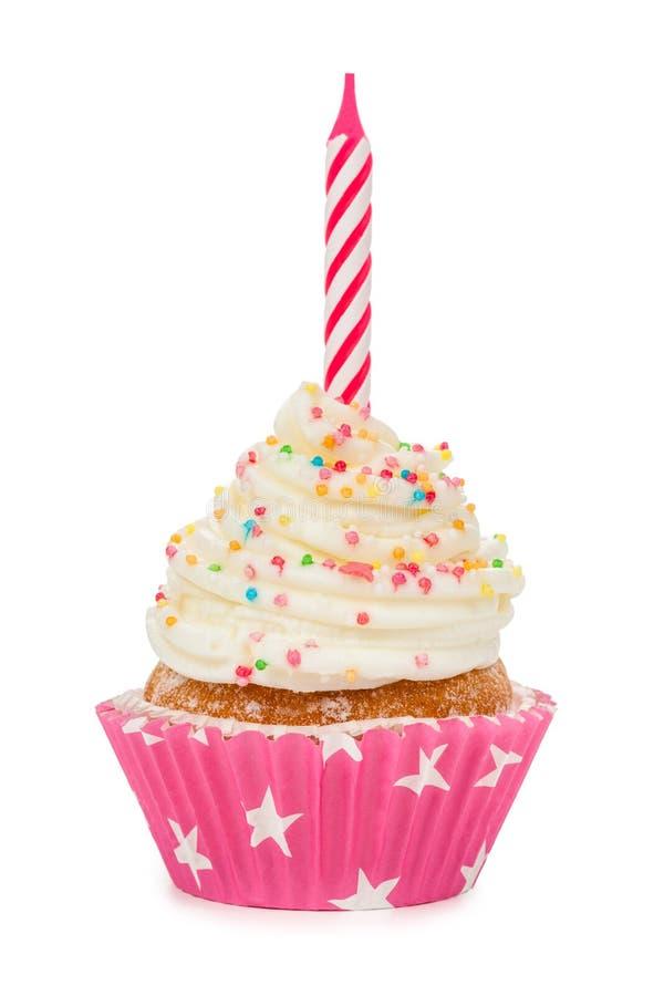 Verjaardag cupcake met een kaars op wit wordt geïsoleerd dat stock afbeeldingen