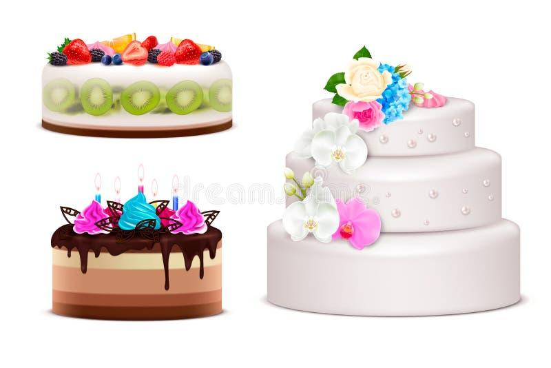 Verjaardag en Huwelijkscake Realistische Reeks royalty-vrije illustratie