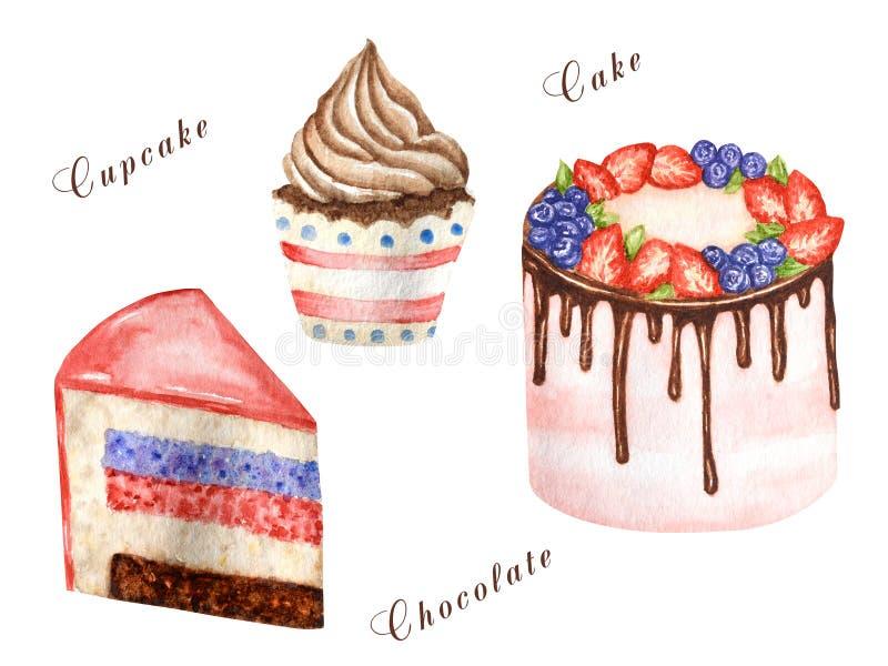 Verjaardag en huwelijkswaterverfcake op witte achtergrond Stuk van gelaagde cake en cupcake Zoete hand getrokken woestijn royalty-vrije illustratie