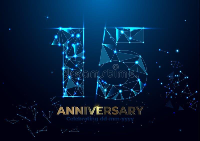 Verjaardag 15 Geometrisch veelhoekig Affichemalplaatje voor de Vierende partij van de verjaardagsgebeurtenis De achtergrond van h stock illustratie