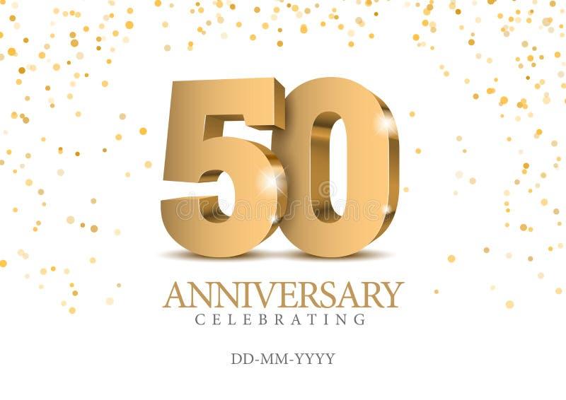 Verjaardag 50 gouden 3d aantallen royalty-vrije illustratie