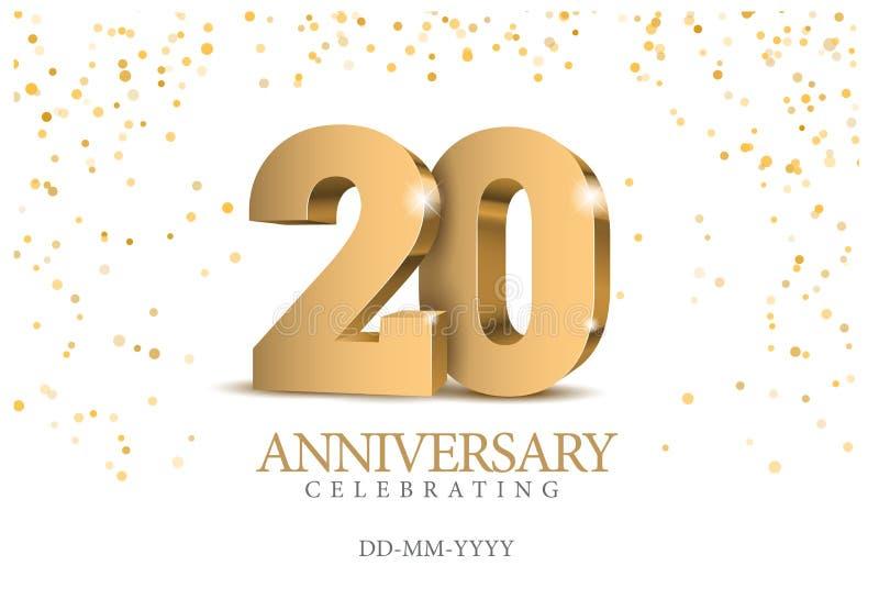 Verjaardag 20 gouden 3d aantallen royalty-vrije illustratie