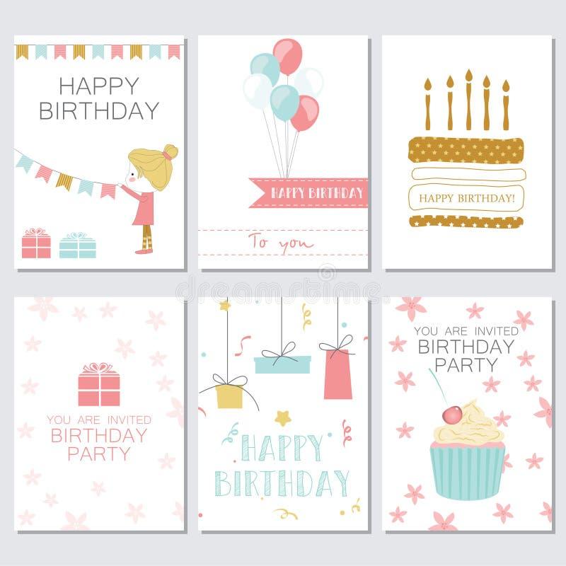 Verjaardag, groet en uitnodigingskaarten met cakes, ballons, giften en het meisje royalty-vrije stock fotografie