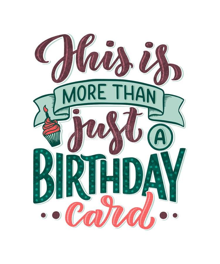 Verjaardag het van letters voorzien in retro stijl De kaart van de verjaardagsuitnodiging Uitstekend uitnodigingsmalplaatje voor  stock illustratie