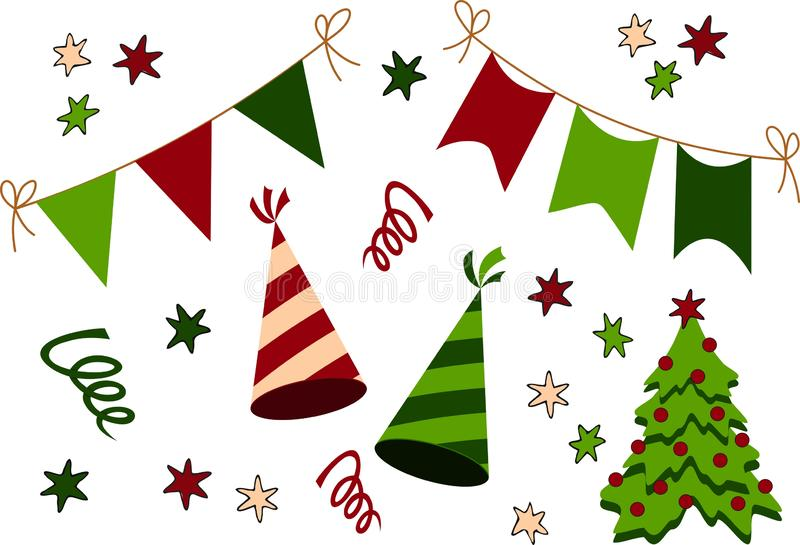Verjaardag, Kerstmis en Nieuwjaar het pictograminzameling van het Partijmateriaal Beeldverhaal polair met harten stock illustratie
