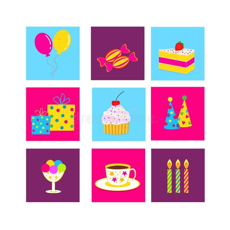 Verjaardag, vierings en partijpictogrammen royalty-vrije illustratie