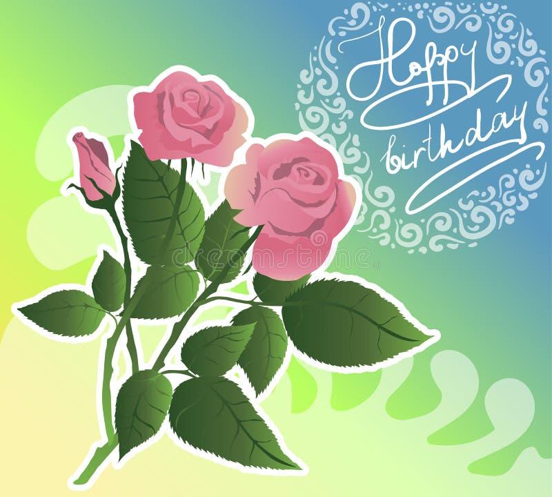 Verjaardags flover kaart Roze rozenvector stock afbeelding