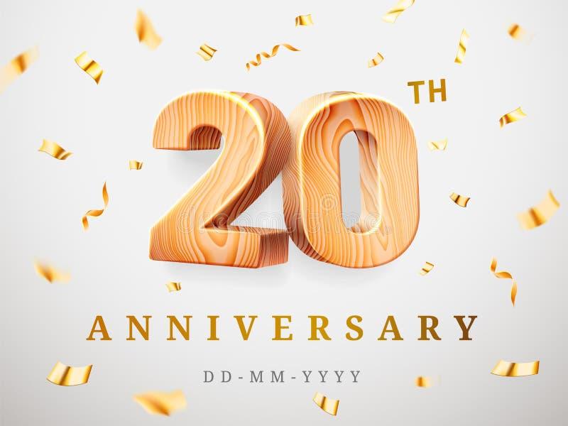 20 verjaardags gouden houten aantallen met gouden confettien Vierings twintigste verjaardag, nummer twee nul malplaatje stock illustratie