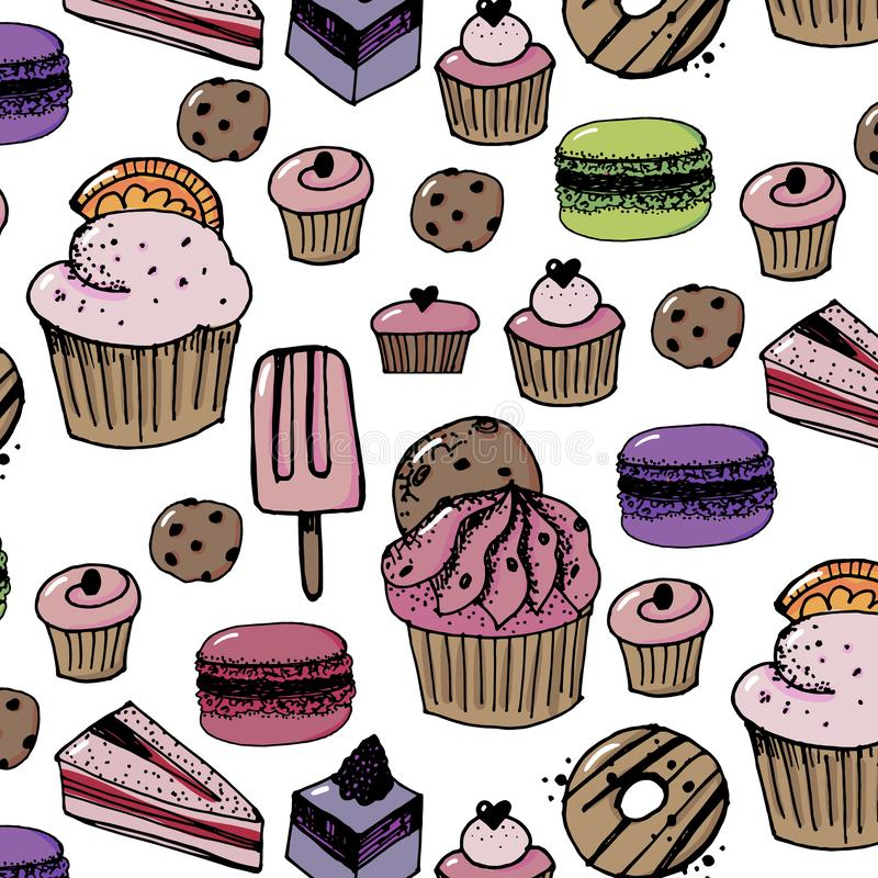Verjaardags naadloos patroon met snoepjes - roomijs, donuts, cupcakes, chocoladereep, suikergoed vector illustratie