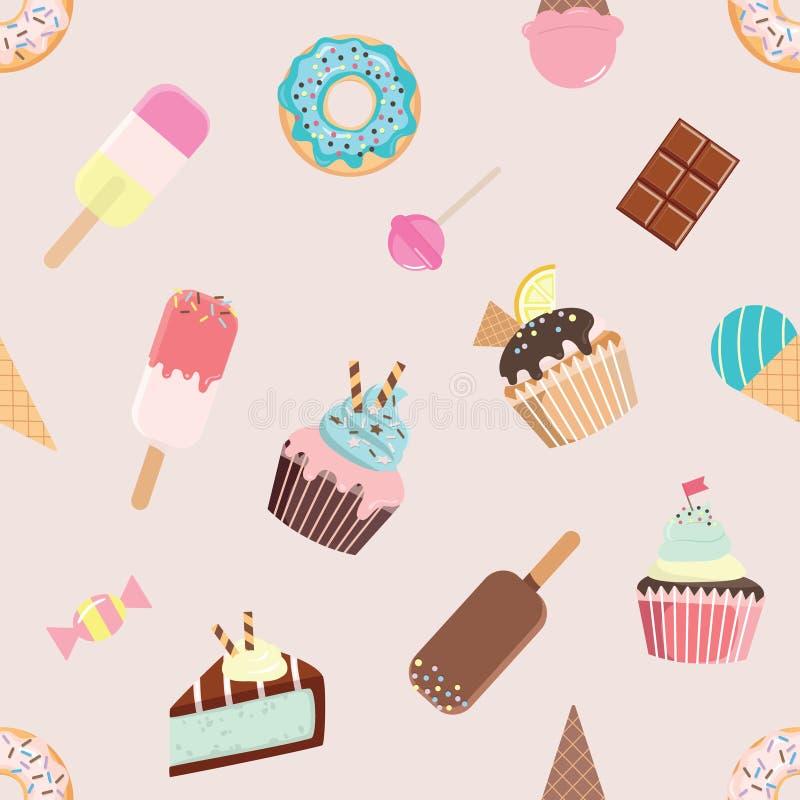 Verjaardags naadloos patroon met verschillende snoepjes royalty-vrije illustratie