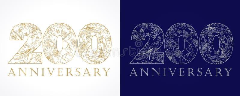 200 verjaardags uitstekende gouden en zilveren aantallen vector illustratie