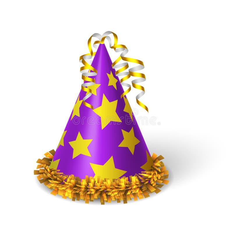 Verjaardags violette hoed met gele sterren vector illustratie