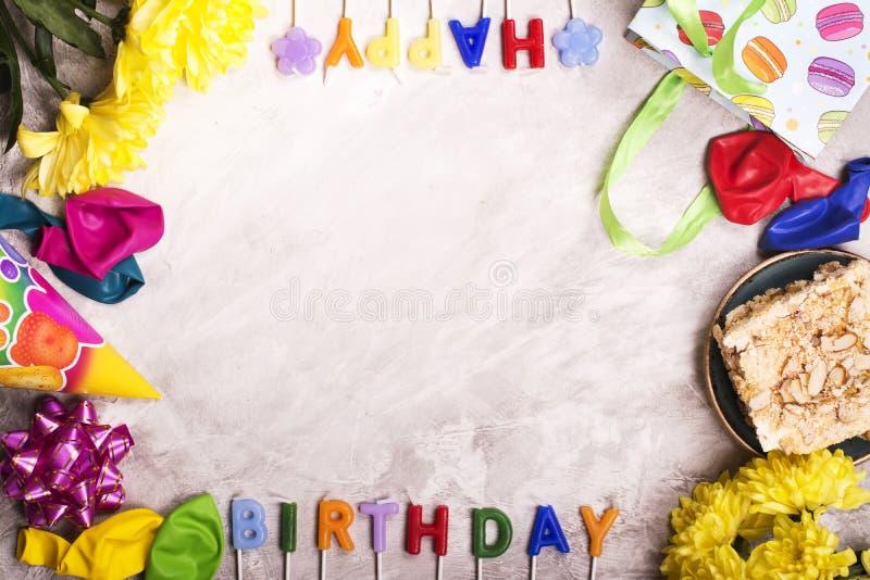 Verjaardagsachtergrond, hoogste mening Gestemd beeld stock foto's