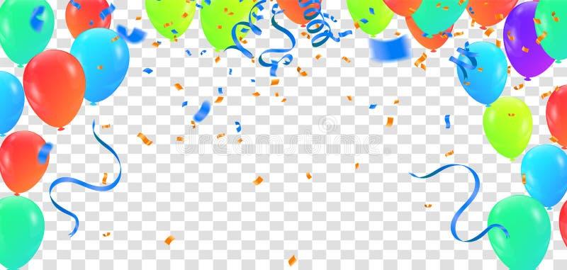 Verjaardagsballon en van het de partij de gelukkige nieuwe jaar van de vieringsbanner achtergrond van het de vieringsfestival nye stock illustratie