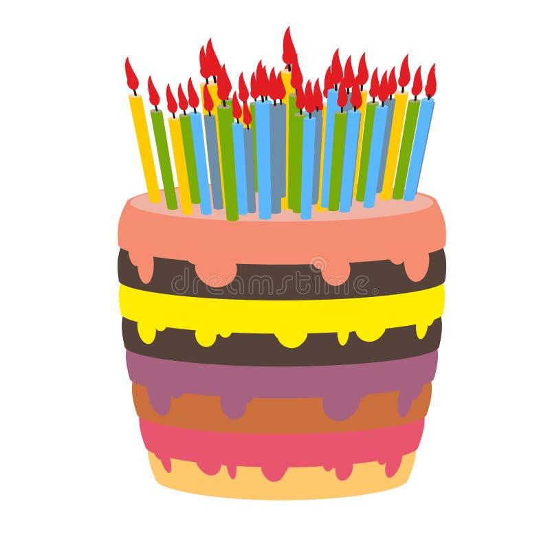 Verjaardagscake en veel kaarsen stock illustratie