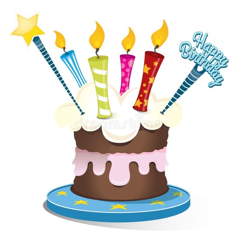 Verjaardagscake met vier kaarsen royalty-vrije stock foto