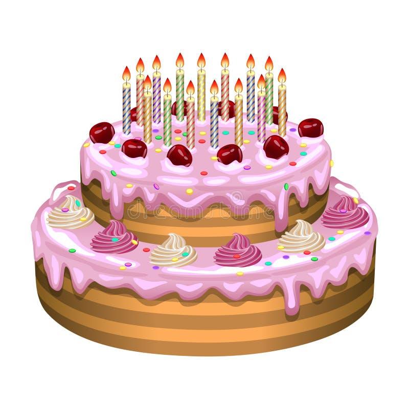 Verjaardagscake op een witte achtergrond Vector illustratie vector illustratie