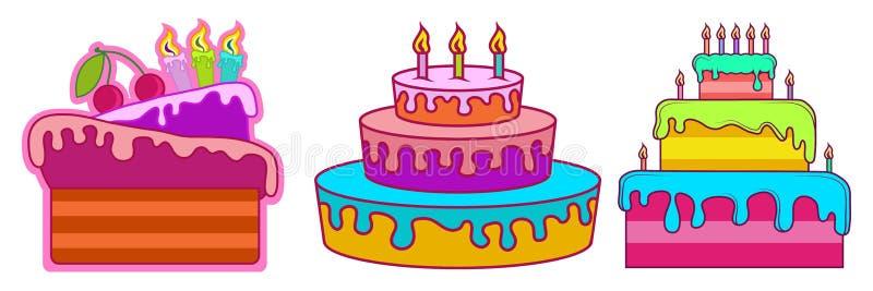 Verjaardagscake, vakantiezoetheid, cakeembleem, cake voor een partij stock afbeelding