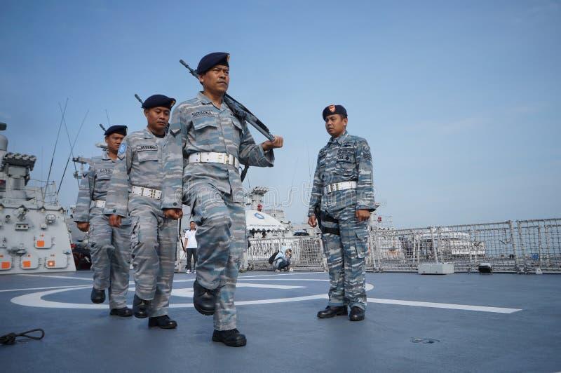 Verjaardagsceremonie van Indonesische Oostelijke Marine a K een Koarmatim in Surabaya, Oost-Java, Indonesië stock fotografie
