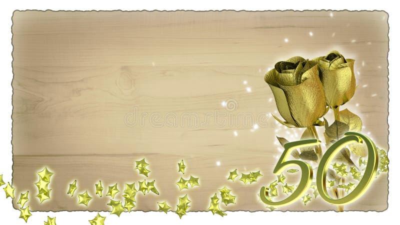 Verjaardagsconcept met gouden rozen en ster royalty-vrije illustratie