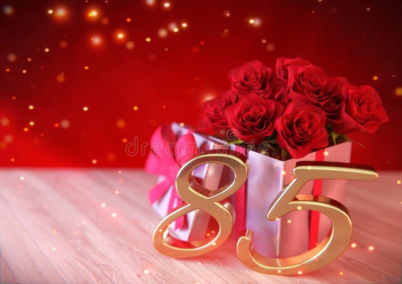 Verjaardagsconcept met rode rozen in gift op houten bureau eightyfifth vijfentachtigste 3d geef terug vector illustratie