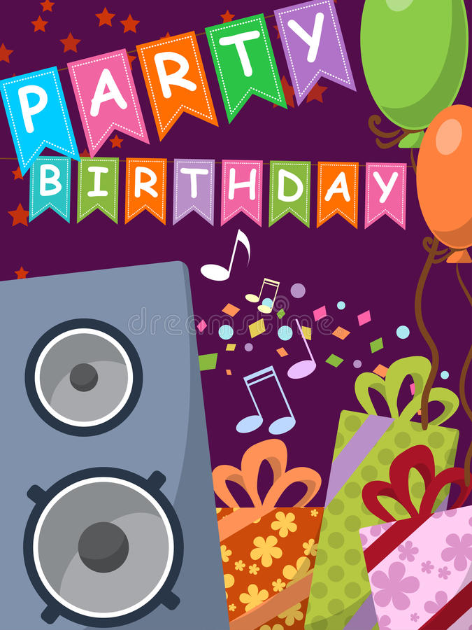Verjaardagskaart met audiosprekers, giften en vlaggen Vector royalty-vrije illustratie