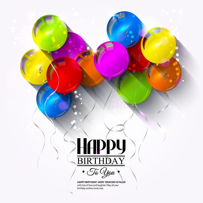Verjaardagskaart met ballons en linten royalty-vrije illustratie