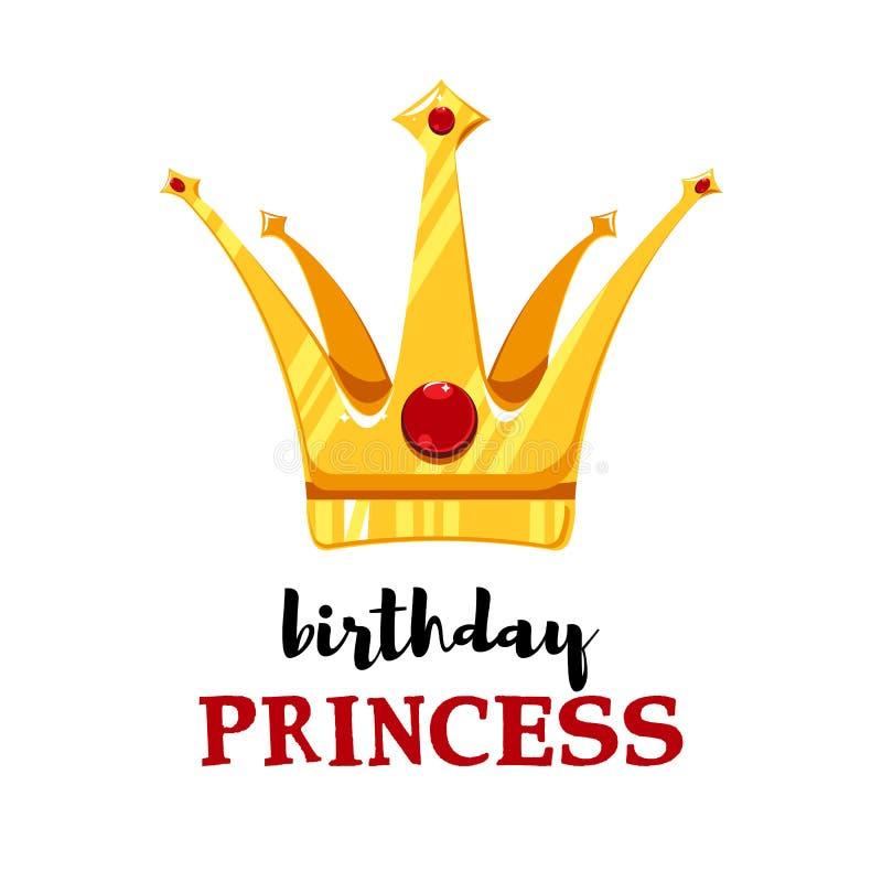 Verjaardagskaart met beeldverhaalkroon royalty-vrije illustratie