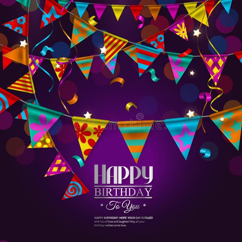 Verjaardagskaart met bunting vlaggen stock illustratie