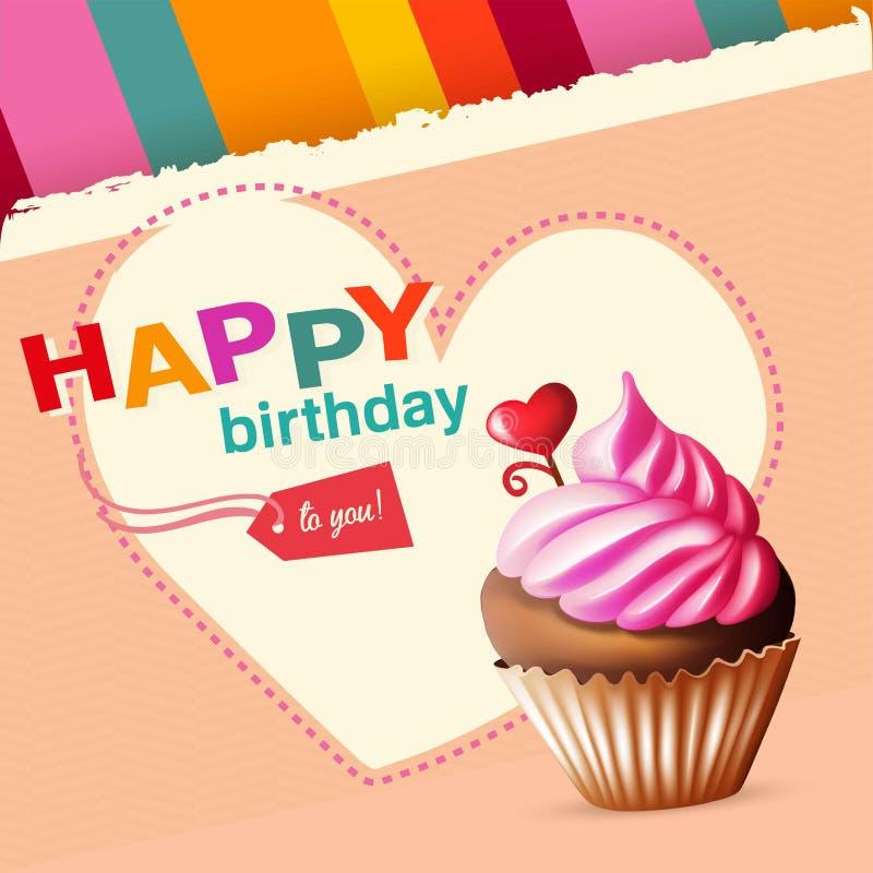 Verjaardagskaart met cupcake en tekst stock foto's
