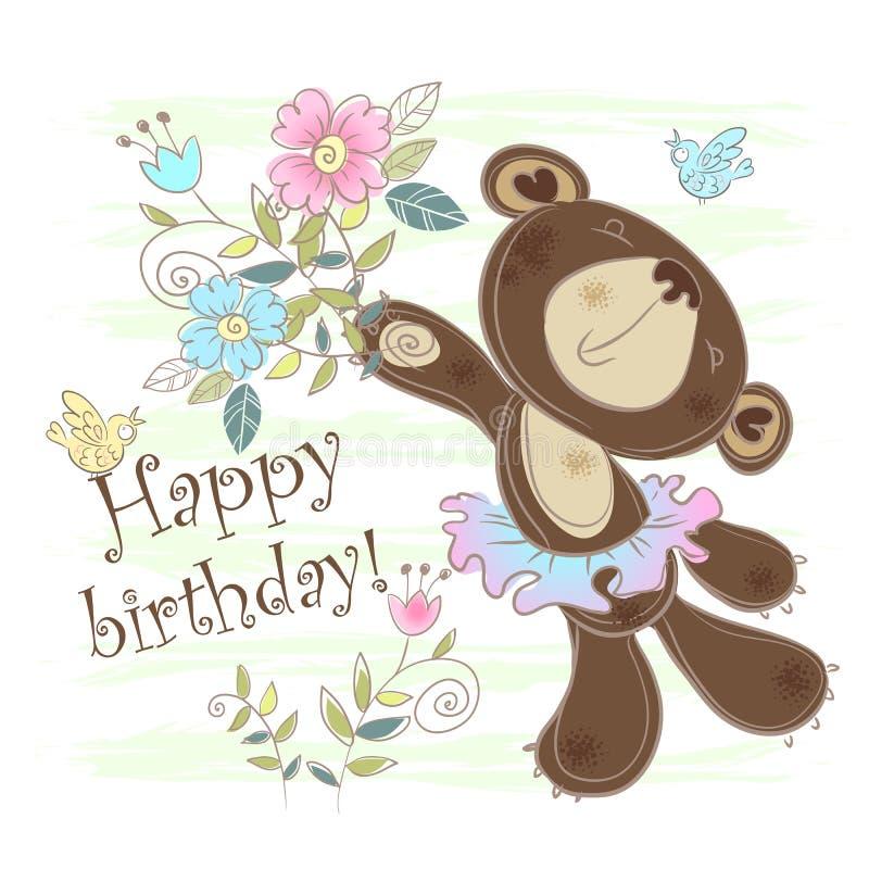Verjaardagskaart met een beer Vector illustratie royalty-vrije illustratie