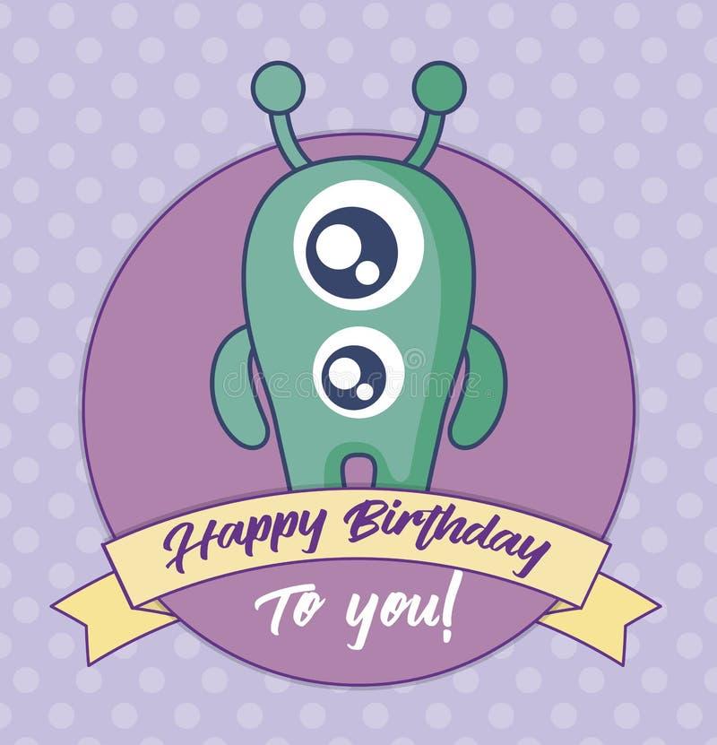 Verjaardagskaart met leuk monster en lint stock illustratie