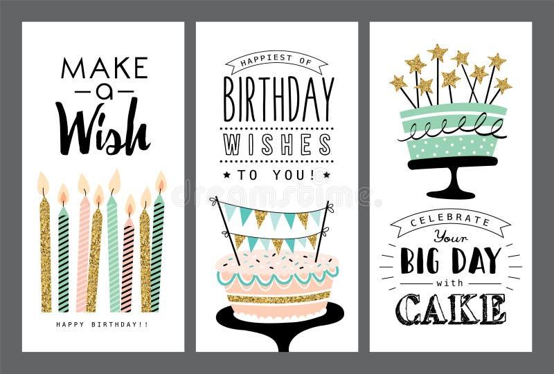 Verjaardagskaarten stock illustratie
