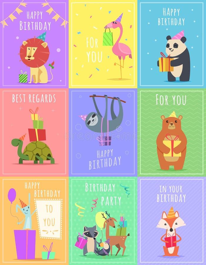 Verjaardagskaarten met dieren De leeuw en de aapkarakters van de het wild kleurden de gestreepte schildpad bij giftviering vector royalty-vrije illustratie