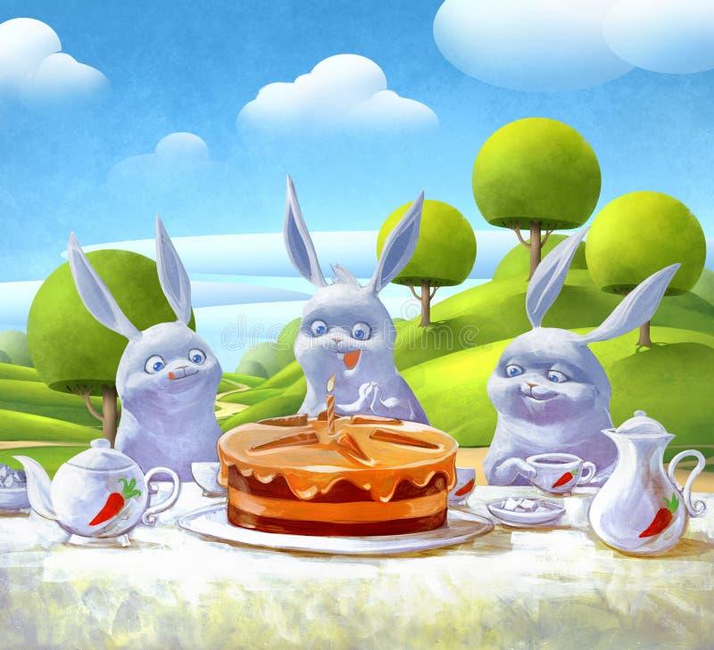 Verjaardagspartij met een smakelijke cake vector illustratie