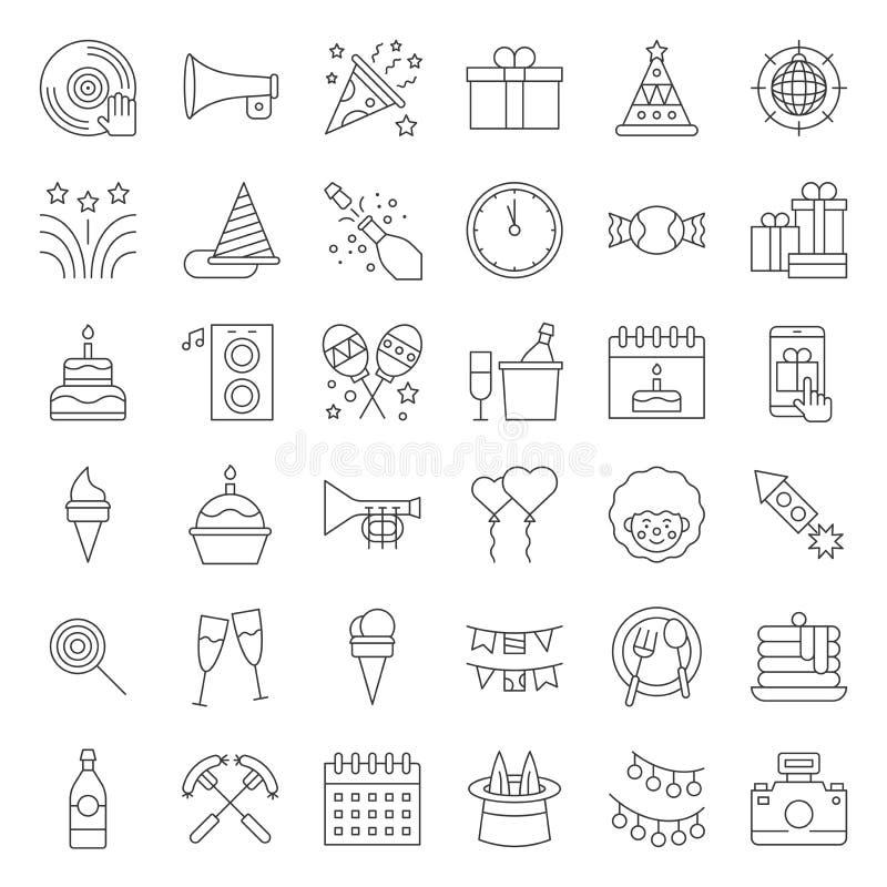 Verjaardagspartij, partij verwante pictogramreeks, editable slagoverzicht op witte achtergrond vector illustratie