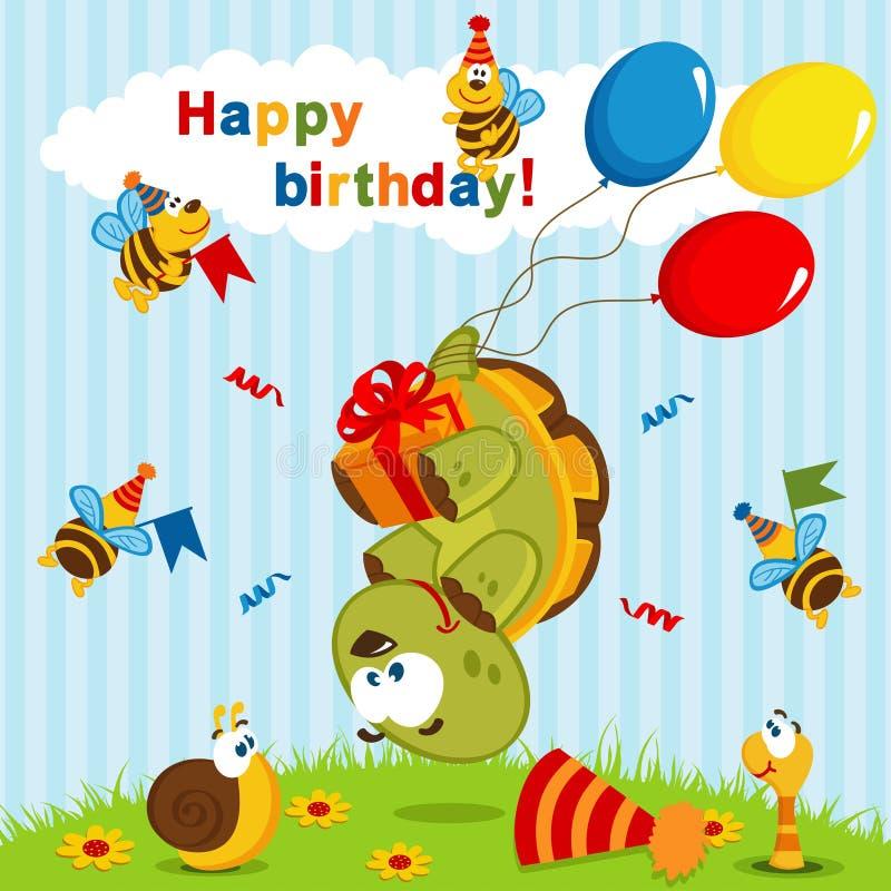 Verjaardagsschildpad op ballons wordt gevlogen die stock illustratie