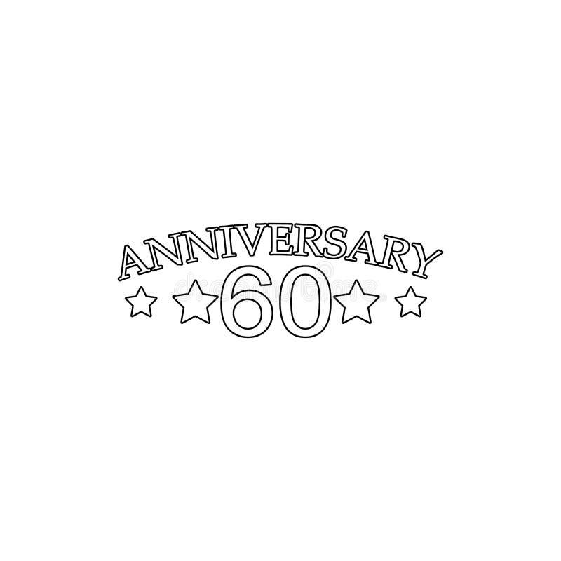 60 verjaardagsteken Element van verjaardagsillustratie Grafisch het ontwerppictogram van de premiekwaliteit Tekens en symboleninz royalty-vrije illustratie